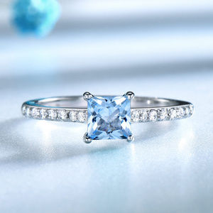 Nano Sky Blue Topaz Ring for Women Sterling Silver